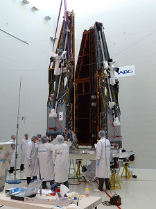 Configuration set up of the 3 Swarm satellites for acoustic tests