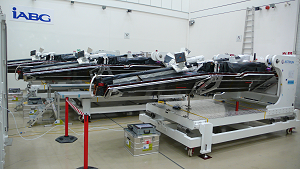 The 3 SWARM satellites in final configuration, just just before storage in the containers (credits EADS)