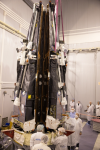 Three Swarm satellites on the adapter