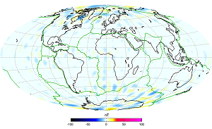 Data from Swarm were used to generate a model of the magnetic field from Earth's lithosphere. The image compares the Swarm model with the Chaos-4 model and shows good agreement, especially considering Swarm is still only in the calibration and validation phase of the mission. The colours in the image show differences between the two models. © ESA/DTU Space-N. Olsen
